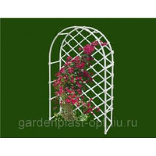 Арка со шпалерой для цветов ГарденПласт, 160х100х40см, белая