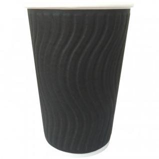 Стакан одноразовый бум двухслойный d-90мм 300мл черный(волна) 40шт/упNDW12