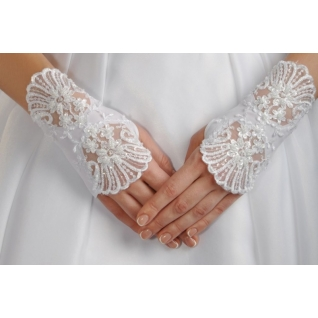 Перчатки свадебные №111, белый (короткие)