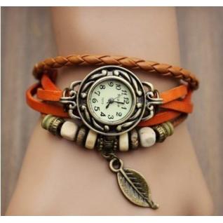 """Винтажные часы """"Лист Магнолии"""", оранжевый ремешок"""