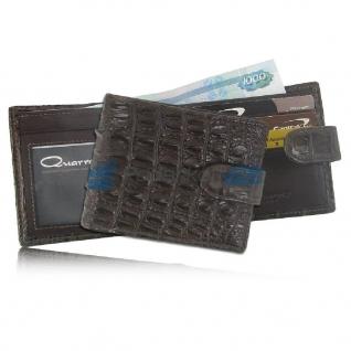 Мужской кошелек из кожи крокодила с хлястиком, шоколадный