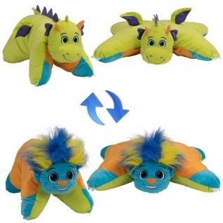 1Toy Подушка Вывернушка Разноцветный Тролль-Салатовый Дракон