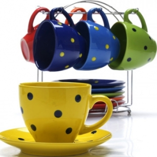 Сервиз чайный 6 чашек(220мл)+ 6 блюдец на подставке LR(х6) (27322)