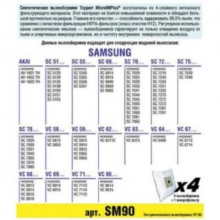 Пылесборник синтетич. для пылесосов Topperr SM 90(4шт.в ед