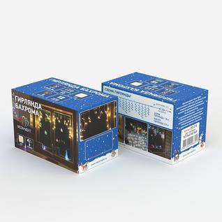 Гирлянда светодиодная Айсикл(бахрома) 48, 1,8х0,5 м, 230В, ТЕПЛ БЕЛ 255-016