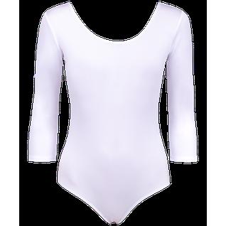 Купальник гимнастический Amely Aa-141, рукав 3/4, полиамид, белый (36-42) размер 42