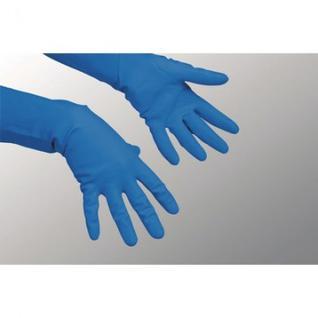 Перчатки резиновые Vileda Profes латекс хлопков.напылен синий р-р M 100753