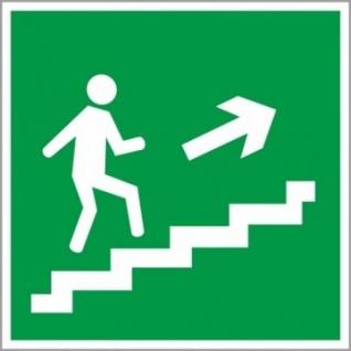 Знак безопасности E15 Напр.к эв.вых.по лест.вверх/пр(плн,ф/л,200х200)
