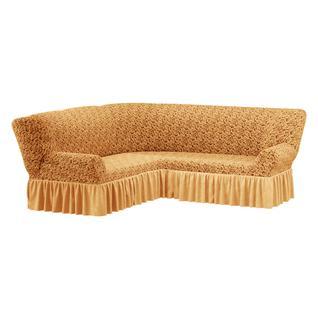 Чехол для углового дивана ПМ: Ми Текстиль Чехол на угловой диван жаккард с юбкой