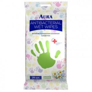 Салфетки влажные AURA антибактериальные 20шт.