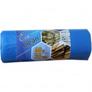 Мешки для мусора ПНД 60л. 58х68см,, 10мкм. синий, 20шт/рул