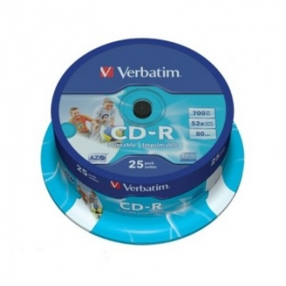 Носители информации Verbatim CD-R 700Mb 52x Cake/25 43439 Print