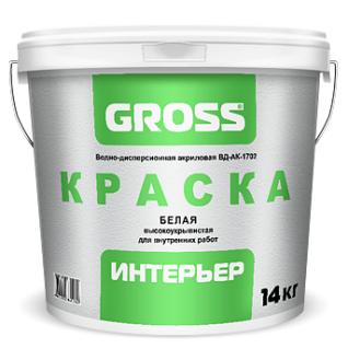 Краска Gross интерьер ВД-АК-1702 полупрозрачная, 3.7 кг