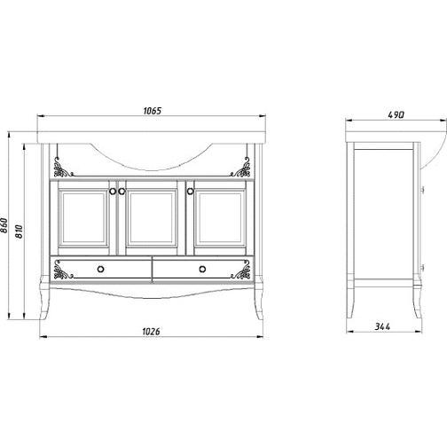 Подстолье Салерно 105 (Белый/Патина серебро) ASB-Woodline 38117090 3