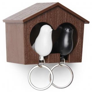 Держатель+брелок для ключей двойной Sparrow коричневый/белый/черный