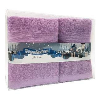 Полотенце махровое Конфетти 50х90 2шт.в пласт.коробке, лаванда