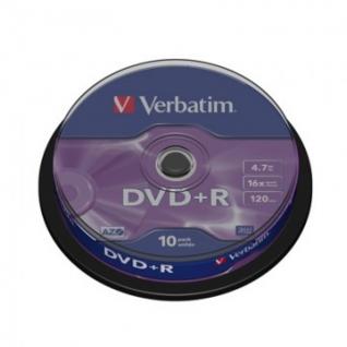Носители информации Verbatim DVD+R 4,7Gb 16х Cake/10 43498