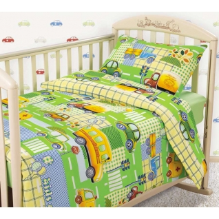 Комплект ясельного постельного белья с трикотажной простынёй Машинки, бязь
