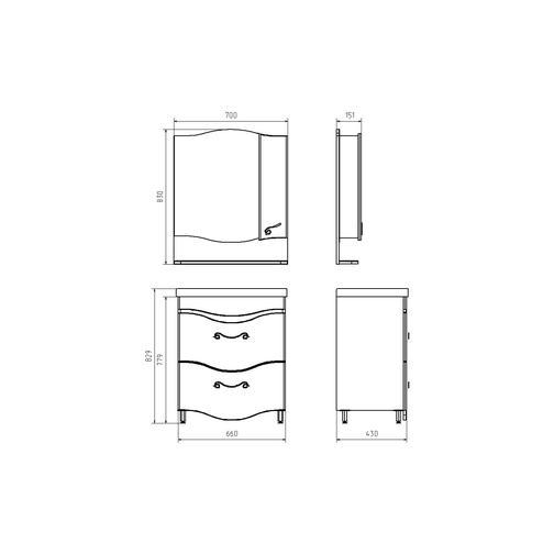 Подстолье Терни 70 квадро (2 выдвижных ящика) (Белый/дуб) ASB-Woodline 38117077 1