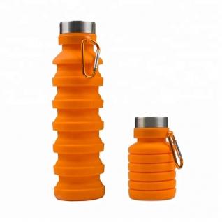 Бутылка для воды силиконовая складная гофра 500 мл оранжевая Hobbyxit
