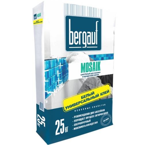 БЕРГАУФ Мозаик клей для мозаики (25кг) белый / BERGAUF Mosaik клей для мозаики и прозрачной плитки (25кг) белый Бергауф 36984106