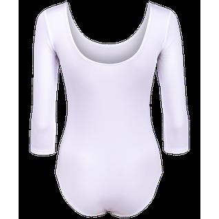 Купальник гимнастический Amely Aa-141, рукав 3/4, полиамид, белый (36-42) размер 40