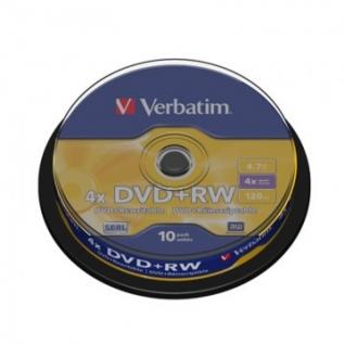 Носители информации Verbatim DVD+RW 4,7GB 4х CB/10 43488