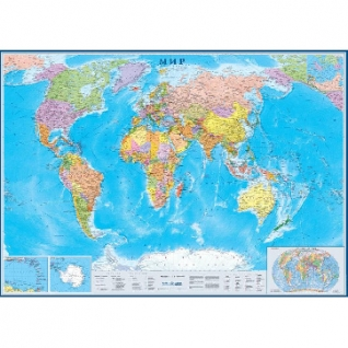 Настенная карта Мир политическая 1:17млн., 2,02х1,43м.