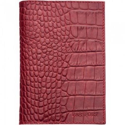 Обложка для паспорта FABULA Croco Nile натуральная кожа красная 37866012
