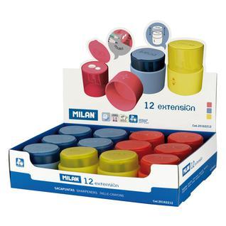 Точилка Milan Extension с контейнером, 2 отверстия, пластик, цв. в ассорт.