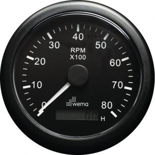 Wema Аналоговый индикатор тахометра чёрный Wema IMHB-BB-8KL 0 - 8000 об/мин 12/24 В