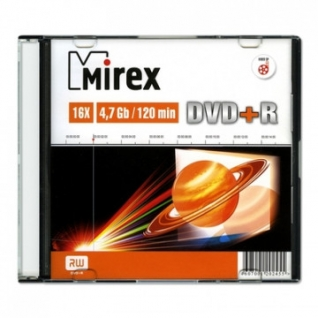 Носители информации Mirex DVD+R 4,7 Гб 16x slim case (UL130013A1S)