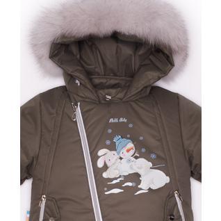 Комплект MalekBaby (Куртка + Полукомбинезон), С опушкой, Хаки арт.412ШМ/2