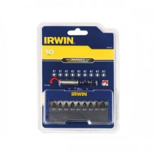 Набор ударопрочных насадок Irwin - 10 шт: 2 x PH1 / 5 x PH2 / 2 x PH3-25 мм + держатель
