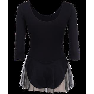 Купальник гимнастический Amely Aa-181, рукав 3/4, юбка сетка, хлопок, черный (36-42) размер 38