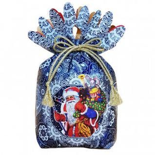 """Новогодний сладкий подарок """"Дед Мороз"""" Мешочек (синий) 1000гр М-125B МосУпак"""