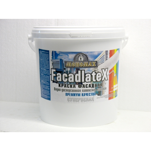 Краска Мономах Facadlatex Premium» 98% белизны ФАСАДНАЯ 40 кг 6448816