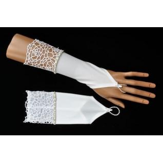Перчатки свадебные №235, белый (25 см, стразы)