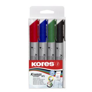 Маркер по бумаге (флипчарт) KORES XF1 набор 4 цв. 21344