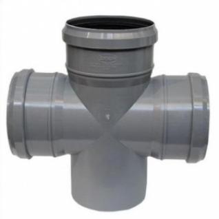 Крестовина для трубы фановой серой, раструб под 110мм-раструб под 110мм-раструб под 110мм-110мм, 90°, одноплоскостная, Синикон