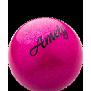 Мяч для художественной гимнастики Amely Agb-103 15 см, розовый, с насыщенными блестками