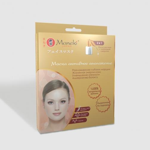 Маска для лица 2 в 1 Maneki с питательной сывороткой, активное омоложение, 5 шт Арт FM1507 861617