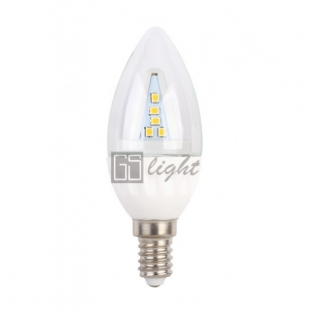GSlight Светодиодная свеча C37-II E14 4.5W 220V Day White ПРОЗРАЧНАЯ