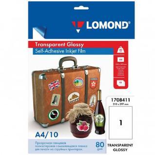 Пленка для проекторов Lomond (1708411) самокл. д/струйн. А4 80г/м2, 10л/уп