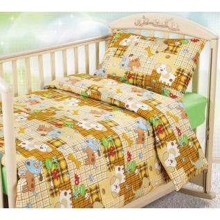 Комплект ясельного постельного белья с трикотажной простынёй Тузик, бязь