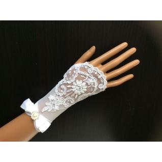 Перчатки свадебные №243b, белый (18 см, бисер, атласный бант)