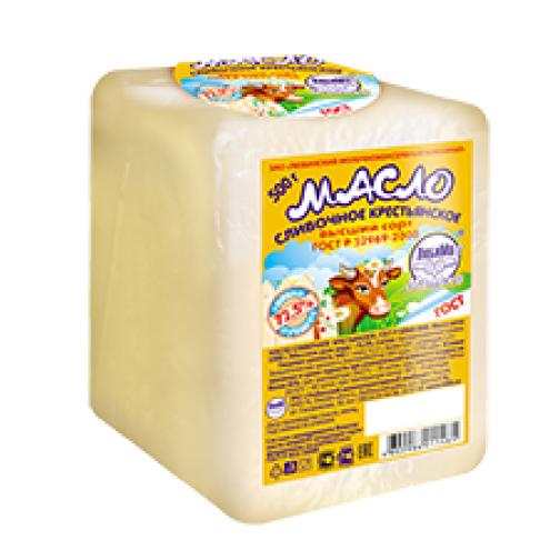 Масло сливочное крестьянское ВЫСШИЙ СОРТ, жирн. 72,5%, монолит 20кг 54596
