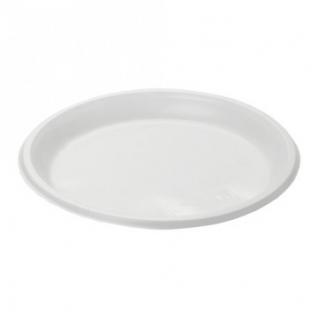 Тарелка одноразовая  диам.205мм пластик., бел., КОМУС, ПС 100шт./уп