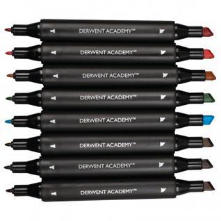 Фломастеры Derwent Academy Twin-Tip - Chisel,8 цв,картонная упаковка, 98208