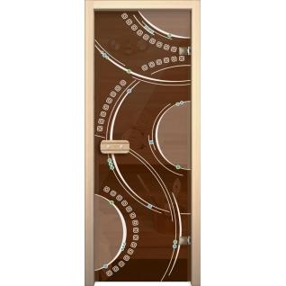 Дверь для сауны АКМА Арт-серия GlassJet КОЛЬЦА 7х19 (коробка -осина/липа)